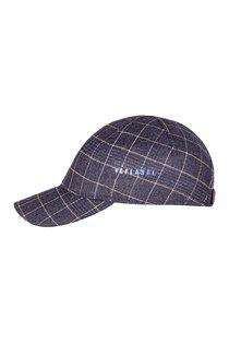 Бейсболка, ткань (шерсть), цвет тёмно-синий, клетка беж.