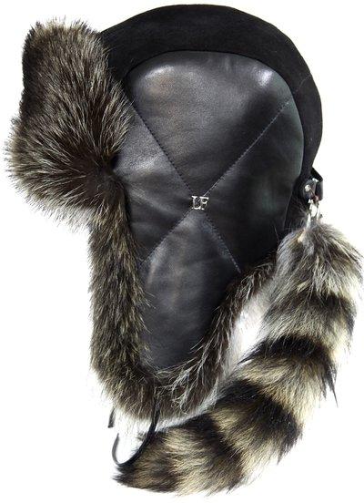 Ушанка LF North Wind SL, мех енот, кожа, замша, цвет черный 2724-1