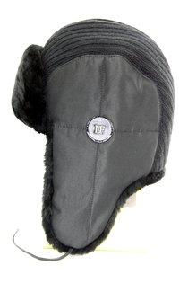Ушанка комби ткань плащевая с трикотажем, мех искусственный, подклад флис