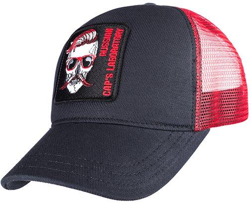 Бейсболка трекерка, ткань хлопок, цвет чёрный/красный 759102