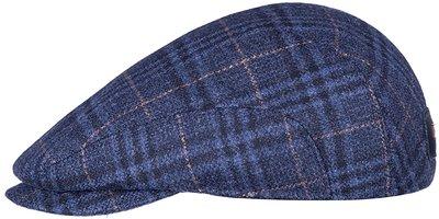 Кепка реглан, ткань (шерсть), цвет синий, клетка 121-25