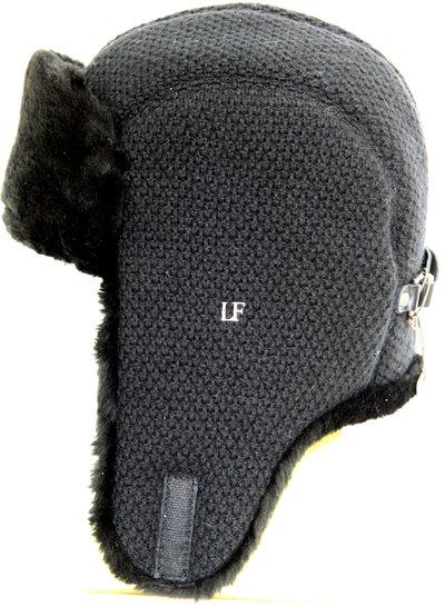 Ушанка, искусственный мех овчина, трикотаж RICE, цвет черный 3441-1