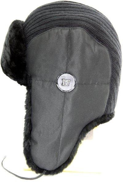 Ушанка комби ткань плащевая с трикотажем, мех искусственный, подклад флис 3047-1
