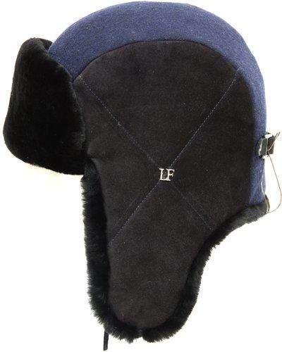 Ушанка LF HatX, овчина, замша, драп, цвет синий 2761-35