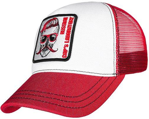 Бейсболка трекерка, ткань хлопок, цвет белый/красный 755103