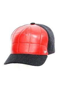 Бейсболка LF Cap color, кожа, ткань (шерсть), цвет красный