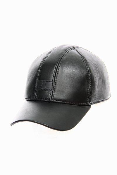 Бейсболка London, кожа, цвет черный 0602