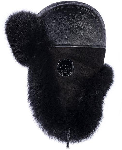 Ушанка, мех песец, кожа страус, отделка замша, подклад овчина, цвет черный 43145-1 RICH
