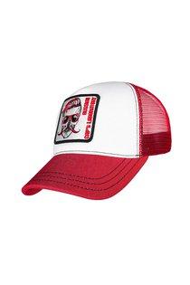 Бейсболка трекерка, ткань хлопок, цвет белый/красный