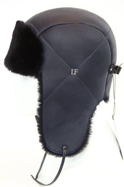 Ушанка LF HatX, овчина MERINOS, цвет синий 019S