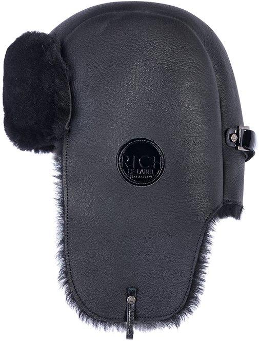 Ушанка, овчина merinos, цвет черный 028 RB