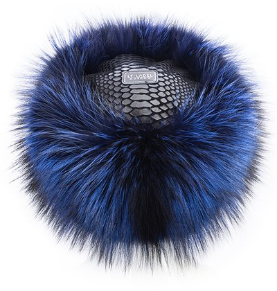 Кубанка, мех чернобурка, цвет синий 06-12-18