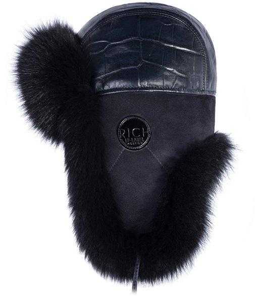 Ушанка, мех песец, кожа рептилия, отделка замша, подклад овчина, цвет черный 43225-6 RICH