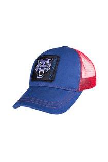 Бейсболка трекерка, ткань хлопок, цвет синий/красный