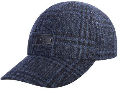 Бейсболка, london, ткань (шерсть), цвет синий, клетка 061-55