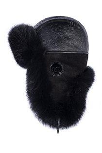 Ушанка, мех песец, кожа страус, отделка замша, подклад овчина, цвет черный