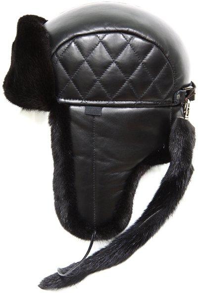 Ушанка, мех норка, кожа, подклад овчина, цвет черный 2016