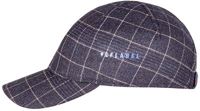 Бейсболка, ткань (шерсть), цвет тёмно-синий, клетка беж. 079-31