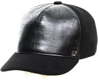 Бейсболка комби,кожа крокодил, цвет черный 02207-9