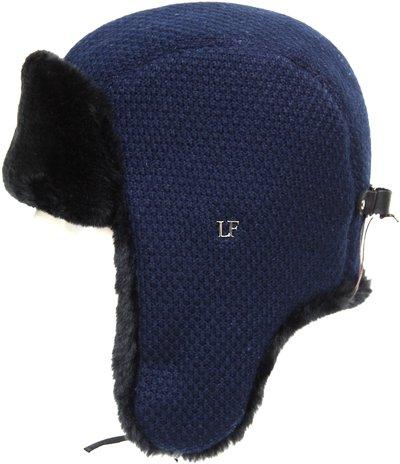 Ушанка, искусственный мех овчина, трикотаж RICE, цвет синий 3441-3