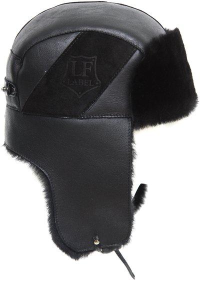 Ушанка LF, мех овчина MERINOS,цвет черный 017