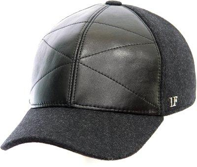 Бейсболка LF Cap color, кожа комбинированная с тканью, цвет черный, серый 0302-22