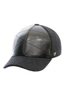 Бейсболка LF Cap color, кожа комбинированная с тканью, цвет черный, серый